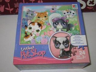 Littlest Pet Shop Puzzle w/ NO # Black & White Long Hair Angora Cat