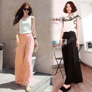 Stylish Womens Palazzo Pants Wide leg Loose Chiffon Gauze Long Gaucho