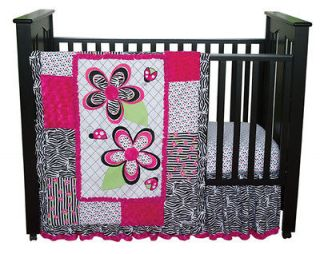 NEW BLACK PINK ZEBRA PRINT FLOWERS LADY BUGS GIRL 4pc Nursery crib set