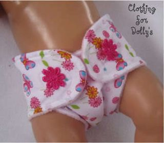BABY DOLLS CLOTHES BUTTERFLY PRINT NAPPY DIAPER OUTFIT FIT ANNABELL