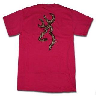 Dark Pink Browning Antlers Buckmark T Shirts   Logo Pattern Antlers