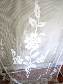 French Antique Vintage Lace Curtain Panel Bed Table Flower Ecru White