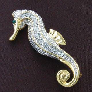Seahorse Animal Sea Creature Brooch Pin Clear Crystal Stone Costume