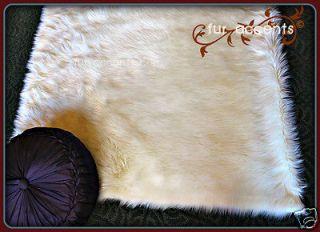WHITE BEAR SKIN ACCENT RUG SHEEPKIN MINK WOLF fake fur area throw rugs