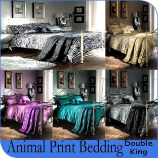 5Pcs Animal Print leopard & Zebra Bedding Polyester Comforter Bed Set