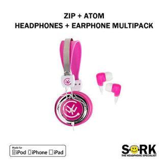 Kids Childrens DJ Headphones + Earphones Pink iPod iPhone  Touch