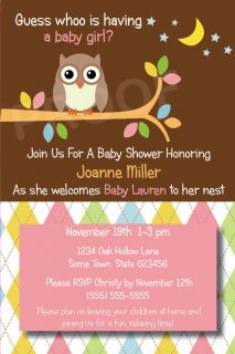 YOU OWLS Printable Baby Shower Invitation Birthday Party girl boy neu