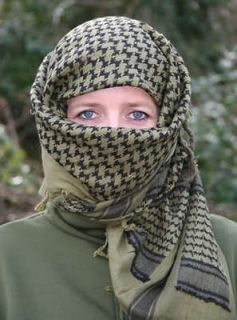 SHEMAGH Keffiyeh Headdress Arab Scarf, Desert Face Wrap, Skulls and