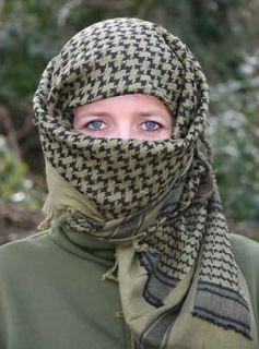 SHEMAGH Keffiyeh Headdress Arab Scarf, Desert Face Wrap, Skulls and