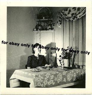 Vintage Old Photo Woman Dining Room Table Cloth Shadows Curtains 1940