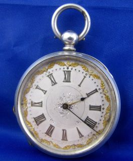 Antique 1800s Fine silver & gold fancy Samual Smith pocket watch LAYBY