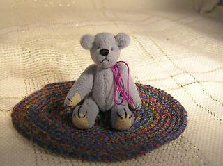 World of Miniature Bears   Mini Grey Bear w/ Blue & Rust Braided Rug