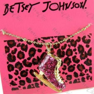 BETSEY JOHNSON vintage 80s ICE SKATE shoe CHARM NECKLACE hot pink/gold