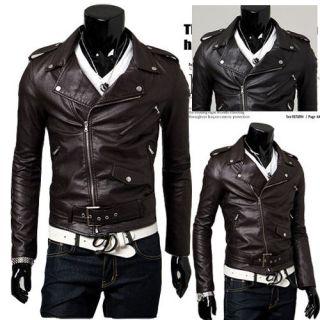 2012 New Men/Boys SlimFit Motorcycle PU Leather Casual Jacket Black