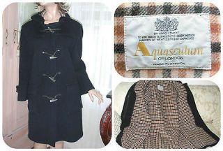 AQUASCUTUM   100% wool navy blue & House Check print hooded duffle