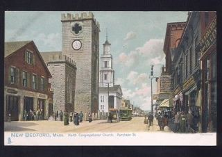 MASSACHUSETTS DOWNTOWN STREET SCENE FW WOOLWORTH VINTAGE POSTCARD