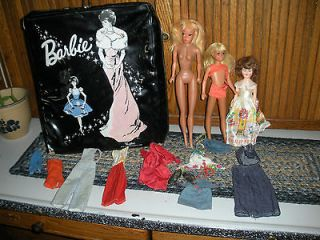 VINTAGE BARBIE DOLL CASE AND LOT 1962 antique toys W/CLOTHES SKIPPER