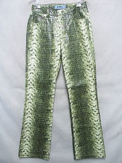 A5076 jr s White/Green Fake Alligator Disco Pants Ladies 7/8