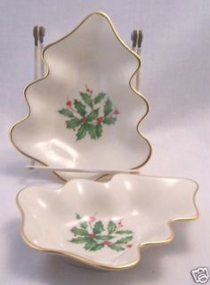 Lenox Christmas Tree Snack Dishes Holly / Berries