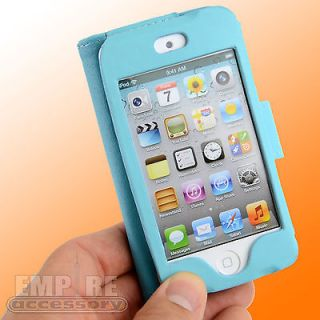 LEATHER FOLDING CASE LCD BUNDLE FOR APPLE IPOD TOUCH iTouch 4G 4th Gen