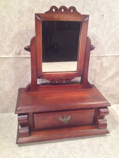 Antique Shaving Vanity Mirror on Large Stand with Drawer