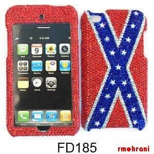 REBEL FLAG DIAMOND BLING PHONE COVER APPLE IPOD ITOUCH 4 ACCESSORY