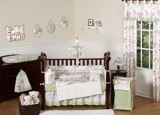CHIC PINK FLOWER 9p BABY GIRL CRIB BEDDING COMFORTER SET COLLECTION