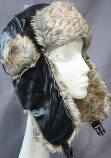 Cousin Eddie Christmas Vacation hat BLACK faux leather RABBIT fur