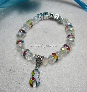 Autism Aspergers Awareness crystal bracelet ribbon charm can be