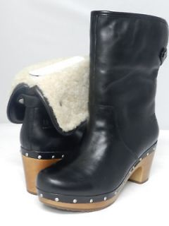 NEW WOMEN UGG BOOT LYNNEA BLACK LEATHER 100% AUTHENTIC IN ORIGINAL BOX