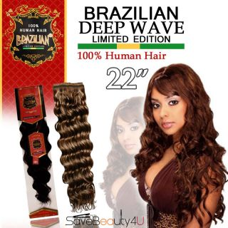 22 Brazilian Deep Wave 100% Human Hair Tangle Free Wavy Weaving