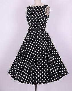 50s Audrey Hepburn Style Black White Dots Dress Size 1X