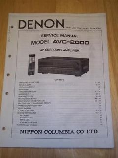 Denon Service Manual for AVC 2000 AV Amplifier~Oper ation~Original