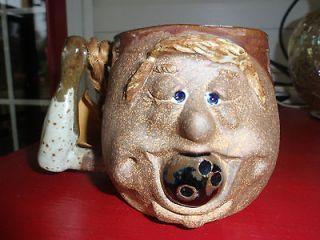 ART POTTERY FACE CUP HAND SCULPTED ROBERT WEISS ORIGINALS