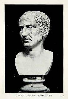 1914 Print Bust Gaius Julius Caesar Naples National Archaeological