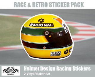 Helmet Art Ayrton Senna Vinyl Sticker   Pack of 2