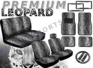 Snow Leopard 17pc Car Seat Covers Animal Print Bench Floor Mats