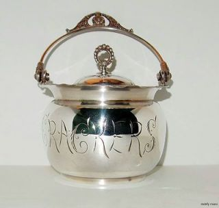 VICTORIAN CRACKER BARREL OR JAR, SILVER PLATED WITH ONEIDA QUAD PLATE