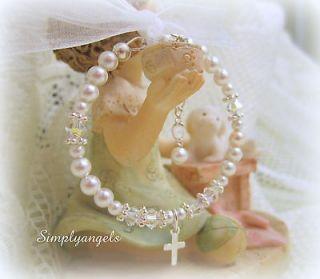 ~Swarovski pear newbornl baby girls baptism christening bracelet