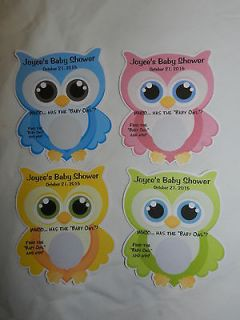 CUTE OWL BABY SHOWER PARTY FAVOR SCRATCH OFF LOTTO GAME CARD