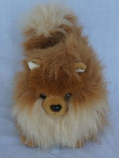 Aurora Pomeranian Puppy Dog Toy Brown Tan Furry Soft Stuffed Plush 12