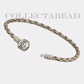 Authentic Pandora Silver Champagne Leather 7.5 Bracelet
