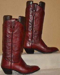 red leather cowboy/western boots,burgundy ,womens 6.5 B, TX USA, EXC