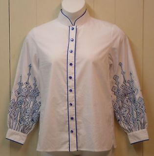 Bob Mackie Embroidered Sleeve Shirt Size XL White