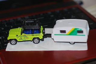Rare Vintage 80s Yatming Travel Trailer/Camper and 2012 Matchbox Jeep