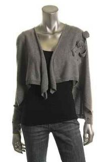 Autumn Cashmere NEW Gray Cashmere Ribbed Trim Open Front Cardigan
