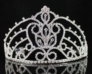 MARVELOUS AUSTRIAN RHINESTONE CRYSTAL CROWN TIARA WITH COMBS PAGEANT