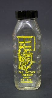 Samuel Callett Old Mother Hubbard Nursery Rhyme Baby Milk Bottle 8 oz