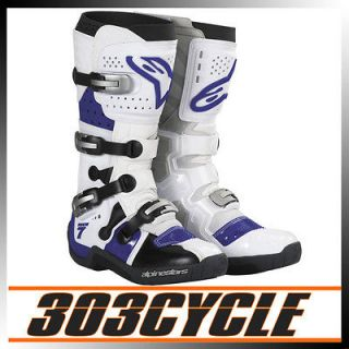 Alpinestars Tech 7 Off Road Dirt Bike Riding Boots   White / Blue