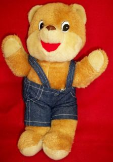 Vintage 1986 Shoneys Bear Plush Denim Pants Plastic Eyes & Nose 12T